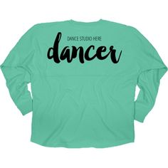 Hey there trendy dancer. Customize this cute billboard jersey shirt to wear to school, dance class and more! Add the name of the dance studio you dance at! Or add any other text like your name! It's up to you! Let everyone know you're a dancer with this big text across your shoulders!