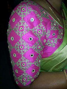 15 Stylish Mirror work blouse design to inspire you - Wedandbeyond Silk Saree Blouse Designs, Fancy Blouse Designs, Bridal Blouse Designs, Blouse Neck Designs, Mirror Work Blouse Design, Kutch Work Designs, Embroidery Neck Designs, Hand Embroidery, Designer Blouse Patterns