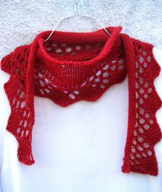 lacy red scarf lightweight fun little shawl by DutchDaisyDesign, $25.00