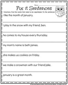 Grade Worksheets for January First Grade January worksheets - Fix it Sentences for Capitalization.First Grade January worksheets - Fix it Sentences for Capitalization. Punctuation Worksheets, Language Arts Worksheets, English Grammar Worksheets, First Grade Worksheets, Writing Sentences Worksheets, Making Sentences, Super Worksheets, Homeschool Worksheets, Fractions Worksheets