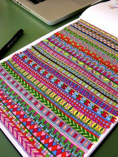 I've Fallen in Love with Finding Patterned Tangle/Zentangle Art With Color! Doodle Art Drawing, Zentangle Drawings, Doodles Zentangles, Zentangle Patterns, Madhubani Art, Madhubani Painting, Dibujos Zentangle Art, Kunstjournal Inspiration, Graph Paper Art