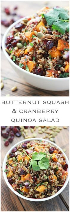 Butternut squash cranberry salad is the BEST fall salad! Made with butternut squash, cranberries, quinoa, pumpkin seeds and Balsamic Vinaigrette. Butternut Squash and Cranberry Quinoa Salad - Whole Food Recipes, Vegan Recipes, Cooking Recipes, Vegetarian Cooking, Avocado Recipes, Cooking Tips, Soup Recipes, Apple Recipes, Autumn Recipes Healthy