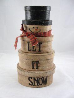 Stacking snowman boxes primitive let it snow