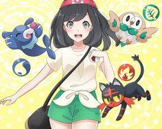Pokemon sun and moon starters. Rowlet, Popplio, and Litten