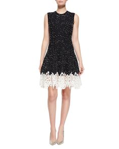 Sleeveless Dotted Lace-Bottom Dress, Black/Navy/White - Oscar de la Renta
