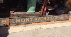 """Antique Lt 1800's Wood Sign Black Sand Gold Lettering """"Belmont Avenue Chapel"""" MA"""