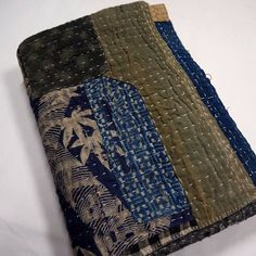 Antique Sashiko Indigo Cotton Kotatsu Table Cover