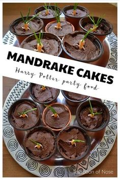 Cakes with the Best Chocolate Cake Chocolate Mandrake Cakes for a halloween Harry Potter party!Chocolate Mandrake Cakes for a halloween Harry Potter party! Harry Potter Snacks, Baby Harry Potter, Harry Potter Cupcakes, Harry Potter Motto Party, Gateau Harry Potter, Harry Potter Thema, Harry Potter Halloween Party, Fete Halloween, Harry Potter Recipes