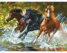Three Galloping Horses Through Water - Easy DIY Paint by Numbers Kits - OwlCube Canvas Wall Art