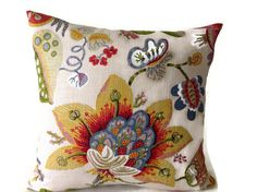 ADD A PRETTY LOOK TO ANY ROOM  WITH THIS PILLOW COVER (1)  Colors red, green, white, yellow, blue, mocha brown, and tan  Duralee Fabric on Both Sides
