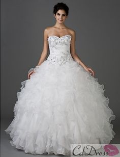 Ball Gown Sweetheart Strapless Floor-length Taffeta And Organza Wedding Dress from CDdress.com  I personally like the top not the bottom