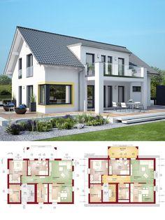Modernes Zweifamilienhaus Mit Einliegerwohnung U0026 Satteldach Architektur   Haus  Bauen Grundriss Fertighaus Celebration 211 V3 Bien