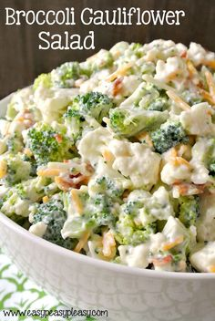 Enjoy this deliciously sweet and easy Broccoli Cauliflower Salad. Make it for a crowd or half the recipe for a family night side dish.