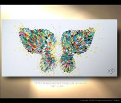 """Butterfly textured modern contemporary abstract CUSTOM Painting """"Enchantment"""" Wall Art Canvas Abstract Oil Original Canvas Abstract OTO"""