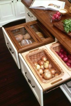 A great storage idea for things you may normally store on your counter top, in bread boxes, in the microwave...quite the sophisticated alternative