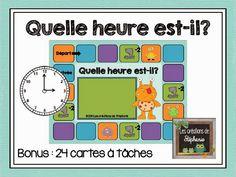 Les créations de Stéphanie: Quelle heure est-il? Un jeu et des cartes à tâches en lien avec la notion de l'heure (2e année) Daily Math, Daily 5, Core French, Primary Maths, Cycle 3, 1st Grade Math, Teaching French, Fractions, Anchor Charts