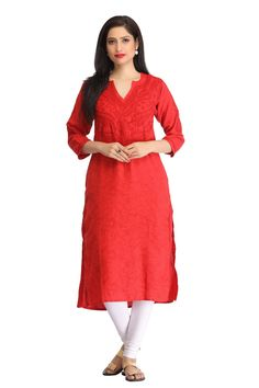 ADA HAND EMBROIDERED RED COTTON LUCKNOW CHIKANKARI KURTI - A134135 Price RS. 1,950 #Ada_Chikans #Lakhnawi_Chikankari_Kurtis #Hand_Embroidery_Kurti #kurtis_for_women #Chikan_Kurtis #Women_Chikan_Wear #Red_Chikan_Kurti #Classy_red