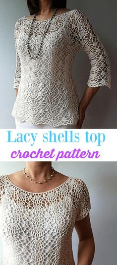 Summer Crochet Top Pattern Lacy Shells Stitch For A Flattering Fit , So pretty! Light and lacy crochet ladies top pattern. Crochet Blouse, Crochet Poncho, Crochet Stitches, Crochet Edgings, Freeform Crochet, Crochet Dresses, Cross Stitches, Crochet Motif, Crochet Clothes For Women