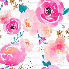 Indy Bloom Design Punchy Florals Wallpaper // Spoonflower