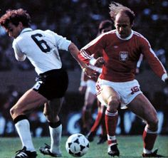 West Germany 0 Poland 0 in 1978 in Buenos Aires. Grzegorz Lato takes on Rainer Bonhof in Group 2 at the World Cup Finals.