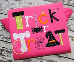 Trick or Treat 2 Applique Design For Machine by Fall Applique Designs, Halloween Applique Designs, Free Applique Patterns, Machine Applique Designs, Halloween Embroidery, Machine Embroidery Applique, Embroidery Fonts, Embroidery Ideas, Applique Ideas