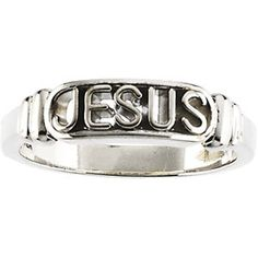 Sterling silver or 14k gold Jesus band.  www.atouchofclassjewelers.com