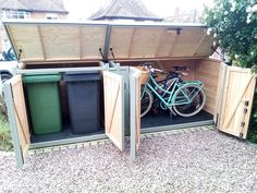 Do you have out of place bins that could do with a home? Are your bikes screaming out for some shelter in those winter nights? Look no further, we have you covered! Bicycle Storage Shed, Outdoor Bike Storage, Outside Storage, Cheap Storage Sheds, Shed Storage, Storage Ideas, Storage Design, Garage Velo, Bin Shed