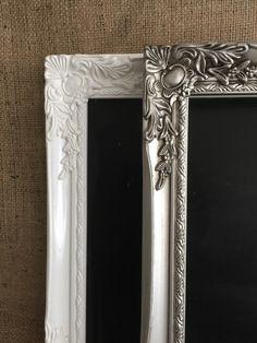 WHITE / SILVER CHALKBOARD // White Ornate Blackboard // White Framed Chalk Board // White New Home Gift // Moving Present // White Retail