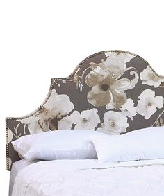 I want to make a DIY headboard to replace our current one. This neutral floral with nailhead trim is really pretty! Notched Adagio Driftwood High-Arch Headboard by Skyline Furniture on #zulily! #zulilyfinds