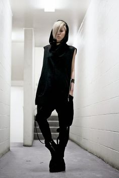 """""""On Mission"""" by The SARCASTIC ASHTRAY  Tank Top: Uniqlo  Vest with Hood: Zara Men Harem Trousers: Element Ankle Boots: Cabara"""