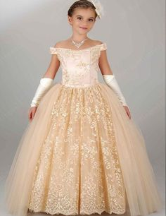 Party Dress Flower Girl Dresses 2017 Ball Gown Modest Communion Gowns For Girls Floor-length Lace Kids Prom