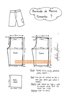 Infantil: Bermuda – DIY – molde, corte e costura Sewing Pants, Sewing Kids Clothes, Baby Clothes Patterns, Sewing For Kids, Baby Sewing, Clothing Patterns, Mens Sewing Patterns, Kids Patterns, Pattern Sewing