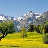 Der Kratzer (Hausberg der Kemptner Hütte) und die Trettachspitze am Ende des gleichnamigen Tales