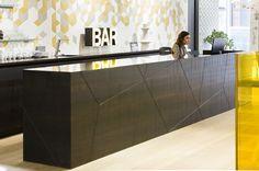 Domus Tiles Showroom Bar/Reception. Designed by Mark Taylor Design Ltd.