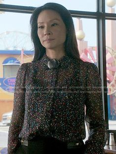 Joan's confetti print blouse on Elementary.  Outfit Details: http://wornontv.net/54427/ #Elementary