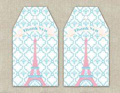 Paris Party Favor Tags  DIY Printable