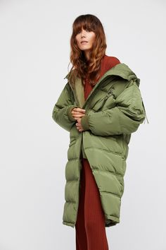 7f911271293 oLIVE Long Raglan Puffer at Free People Clothing Boutique Coat Styles