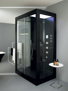 This modern shower cabinet combines sleek design with state-of-the-art technology to create a unique, high-tech shower experience.