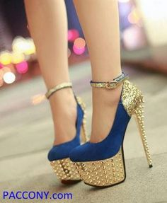 High-Q Stilettos Ankle Strappy Glittery Rivets Platform High Heels Shoes Cute High Heels, Platform High Heels, Cute Shoes, High Heel Pumps, Pumps Heels, Me Too Shoes, Stiletto Heels, Ankle Heels, Pretty Shoes