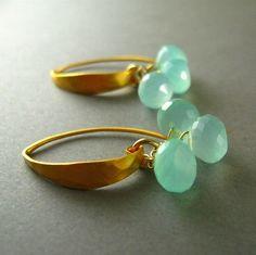 Sea Foam Green Chalcedony Earrings