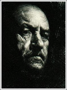 Ravanski ~ Portrait of an old man (drypoint)