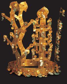 Gold Crown. Relates to 196. Gold and jade crown. Three Kingdoms Period, Silla Kingdom, Korea. Fifth to sixth century C.E. Metalwork.