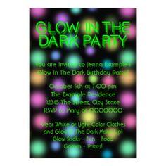 Neon Glow In The Dark Birthday Party Custom Invitation