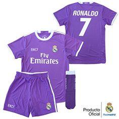CONJUNTO REAL MADRID NIÑO CON DORSAL DE CRISTIANO RONALDO 2º EQUIPACION  REPLICA OFICIAL (TALLA 8)  camiseta  starwars  marvel  gift bfd0b0db7dafc