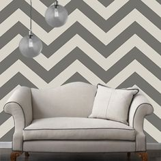 Temporary Wallpaper - Chevron - Grey Mist - Removable Wallpaper - Wall