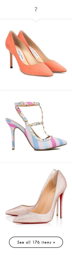 """""""👠"""" by izzystarsparkle ❤ liked on Polyvore featuring shoes, pumps, heels, pink, suede pumps, heel pump, suede leather shoes, jimmy choo, pink shoes and pastel"""