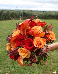 Fall/Autumn #Wedding #Bouquet - love the addition of the berries and those dried long whispy things!
