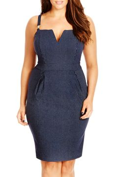 Free shipping and returns on City Chic Pinstripe Notch Neck Sheath Dress (Plus Size) at Nordstrom.com. Pinstripe patterning says buttoned-up, but there's nothing stodgy about this dress! Suspended from buckled shoulder straps, it hugs every curve in a stretchy cotton-rich fabric and shows off gorgeous décolletage with a deeply notched neckline.