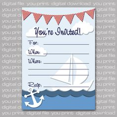 Flower Mama In Blue And Brown African American Baby Shower - Nautical birthday invitation ideas