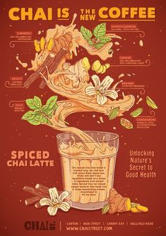 poster design illustration Handdrawn illustration and infographic poster for a chai tea beverage Event Poster Design, Food Poster Design, Graphic Design Posters, Graphic Design Inspiration, Design Food, Tee Illustration, Digital Illustration, Bg Design, Layout Design